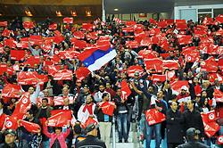 November 11, 2017 - Rades, Tunisia - Supporters of Tunisia during qualifying match for the 2018 FIFA Russia World Cup at Rades Stadium between Tunisia and Libya..Tunisia qualifies for the Russian world after a draw 0/0. (Credit Image: © Chokri Mahjoub via ZUMA Wire)