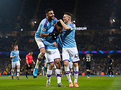 MANCHESTER, ENGLAND - Wednesday, January 1, 2020: Manchester City's Gabriel Jesus (C) celebrates scoring the first goal with team-mates Riyad Mahrez (L) and Phil Foden (R) during the FA Premier League match between Manchester City FC and Everton FC at the City of Manchester Stadium. Manchester City won 2-1. (Pic by David Rawcliffe/Propaganda)