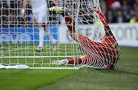 FUSSBALL   CHAMPIONS LEAGUE SAISON 2011/2012  HALBFINALE  RUECKSPIEL      Real Madrid - FC Bayern Muenchen           25.04.2012 Arjen Robben (FC Bayern Muenchen) liegt enttaeuscht im Tornetz