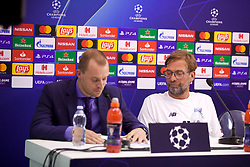 NAPLES, ITALY - Monday, September 16, 2019: Liverpool's manager Jürgen Klopp watches the translator during a press conference at the Stadio San Paolo ahead of the UEFA Champions League Group E match between SSC Napoli and Liverpool FC. (Pic by David Rawcliffe/Propaganda)