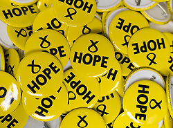 Edinburgh, Scotland, UK. 28 April, 2019. Day 2 of thee SNP ( Scottish National Party) Spring Conference takes place at the EICC ( Edinburgh International Conference Centre) in Edinburgh. Pictured; SNP logos on badges at the conference