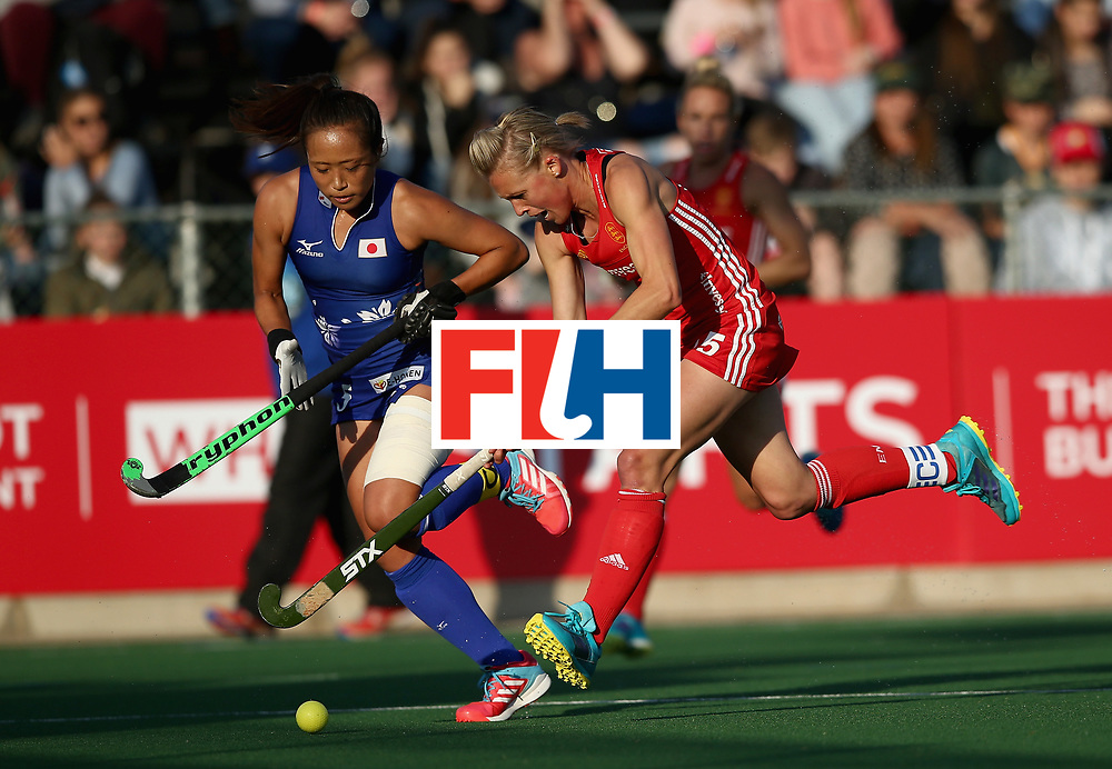 JOHANNESBURG, SOUTH AFRICA - JULY 12: Alex Danson of England and Shihori Oikawa of Japan battle for possession during day 3 of the FIH Hockey World League Semi Finals Pool A match between Japan and England at Wits University on July 12, 2017 in Johannesburg, South Africa. (Photo by Jan Kruger/Getty Images for FIH)