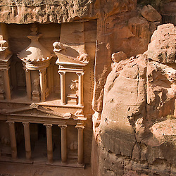 View of the Treasury from the top, Petra, jordan, Asia.
