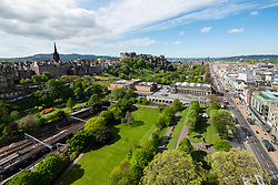 Skyline of Princes Street Gardens and castle in Edinburgh, Scotland, UK