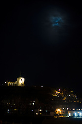 Night time Saint Marys Church perched on the cliffs looking down on Whitby.18 September 2010 .Images © Paul David Drabble