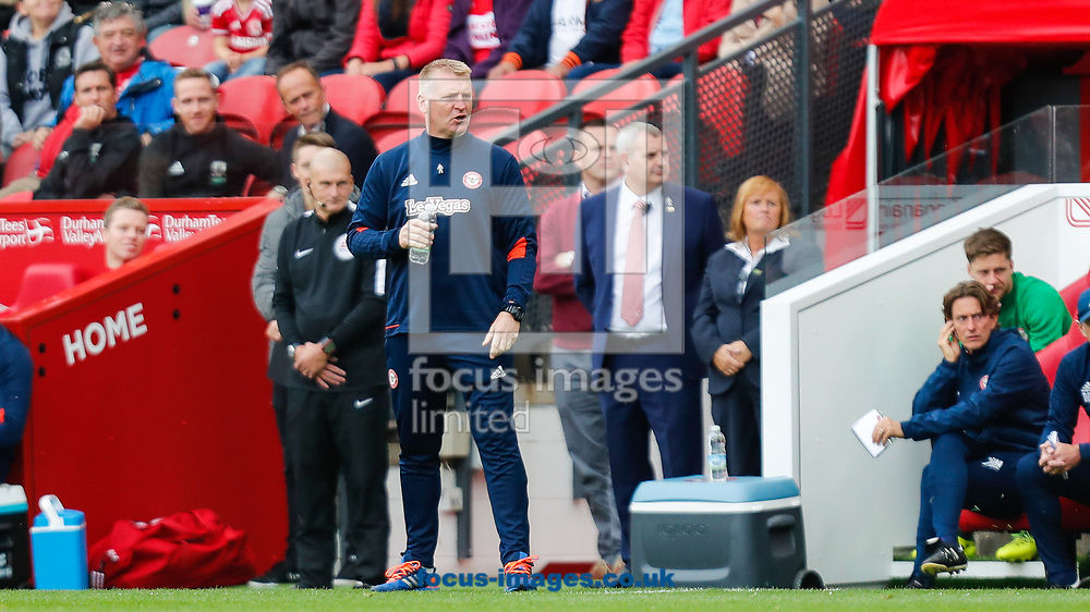 Brentford Head Coach Dean Smith during the Sky Bet Championship match between Middlesbrough and Brentford at the Riverside Stadium, Middlesbrough<br /> Picture by Mark D Fuller/Focus Images Ltd +44 7774 216216<br /> 30/09/2017