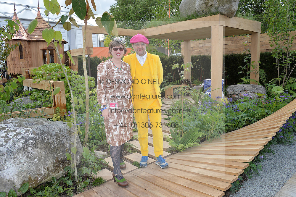 GAVIN TURK and DEBORAH CURTIS at the 2016 RHS Chelsea Flower Show, Royal Hospital Chelsea, London on 23rd May 2016