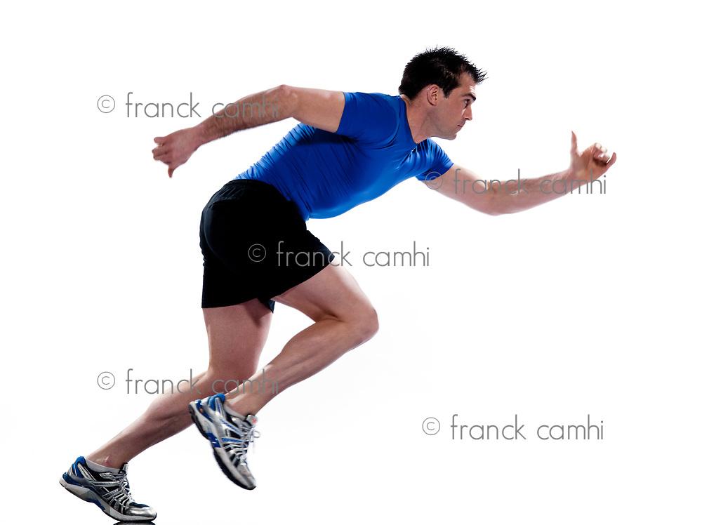 man profile running sprinting full length on studio white isolated background