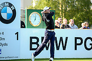German golf professional Maximilian Kieffer teeing off on the 1st during the BMW PGA Championship at the Wentworth Club, Virginia Water, United Kingdom on 26 May 2016. Photo by Simon Davies.