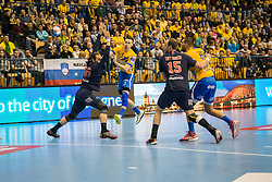 Henrik Toft Hansen vs Jaka Malus during handball match between RK Celje Pivovarna Lasko (SLO) and Paris Saint-Germain HB (FRA) in VELUX EHF Champions League 2018/19, on February 24, 2019 in Arena Zlatorog, Celje, Slovenia. Photo by Peter Podobnik / Sportida