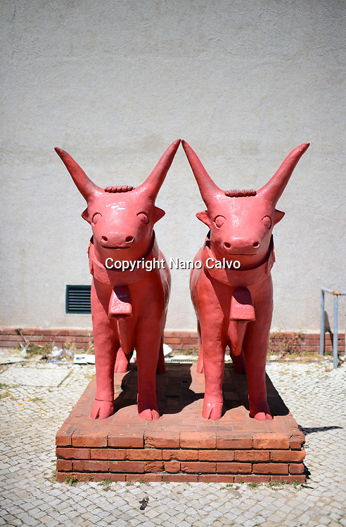 Red sculptures in the streets of Belem, Lisbon, Portugal