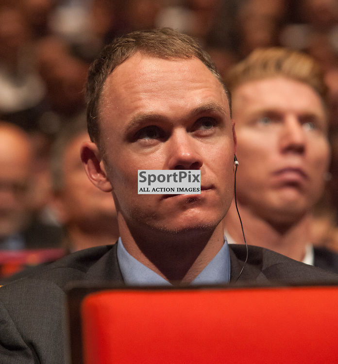 Double winner Chris Froome (GBR/Team Sky) at the Presentation of the 2016 Tour de France route in the Palais des congrès de Paris