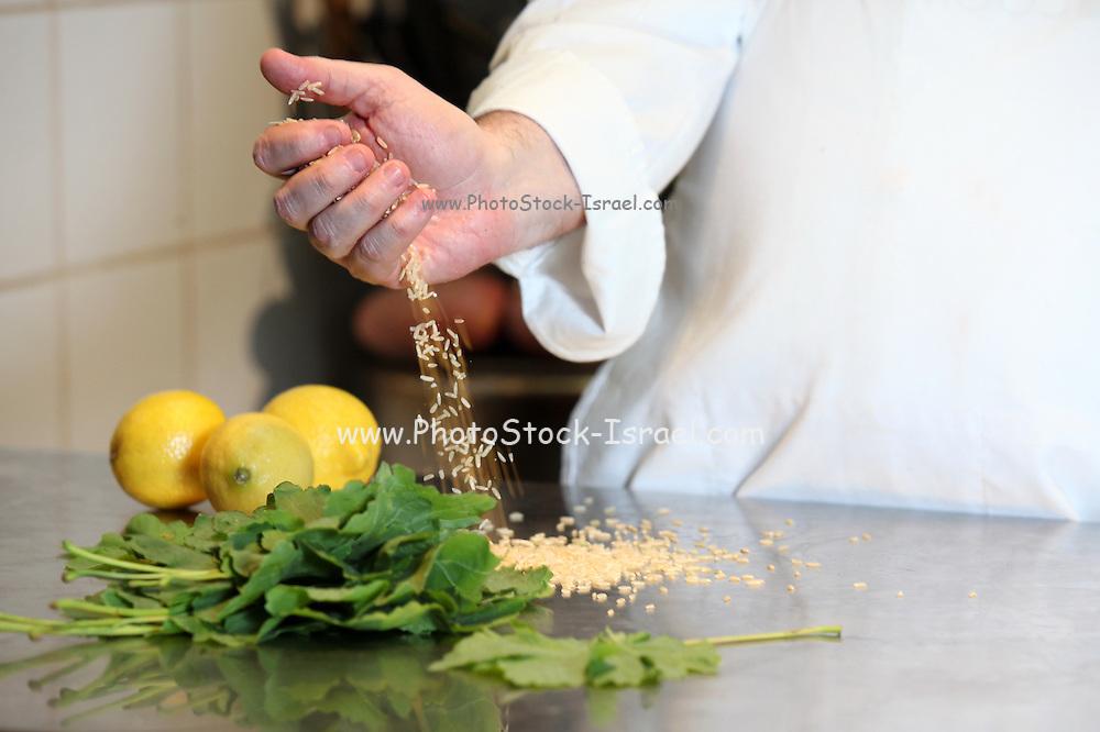 Hands of a cook preparing salad