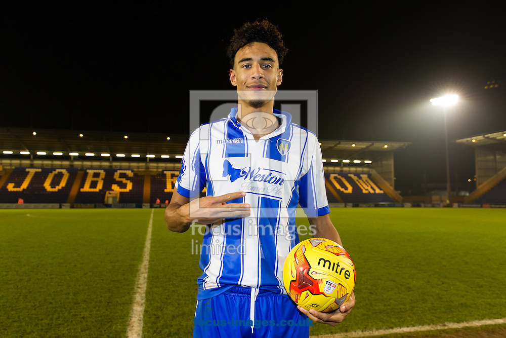 Kurtis Guthrie of Colchester United celebrates at the final whistle with the match ball after scoring a hat-trick during the Sky Bet League 2 match between Colchester United and Carlisle United at the Weston Homes Community Stadium, Colchester<br /> Picture by Richard Blaxall/Focus Images Ltd +44 7853 364624<br /> 07/01/2017
