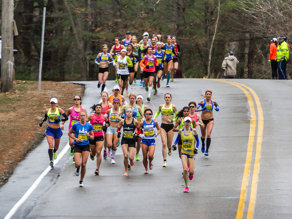 Boston Marathon: elite women's field in first mile of race
