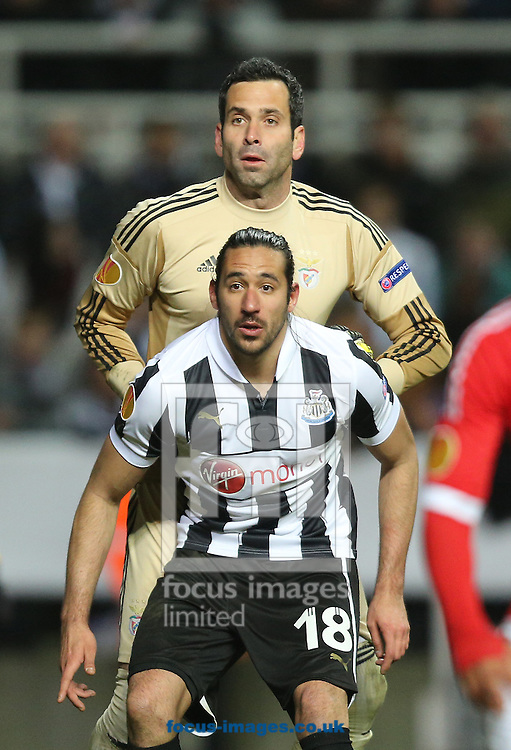 Picture by Paul Gaythorpe/Focus Images Ltd +447771 871632.11/04/2013.Jonas Gutierrez of Newcastle United and Artur of Benfica during the UEFA Europa League match at St. James's Park, Newcastle.
