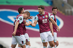 James Tarkowski of Burnley (C) celebrates scoring his sides first goal - Mandatory by-line: Jack Phillips/JMP - 05/07/2020 - FOOTBALL - Turf Moor - Burnley, England - Burnley v Sheffield United - English Premier League