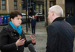 Pictured: Ruth Davidson was much in demand by the media for her views on the election.<br /> <br /> Scottish Conservative leader Ruth Davidson was on the campaign trail in her own constituency of Edinburgh Central today.<br /> <br /> Ger Harley | EEm 3 April 2016