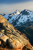 Mount Matier (left 2783 m -9131 ft) and Joffre Peak (2721 m -8927 ft) seen from ridge of Mount Rohr British Columbia Canada