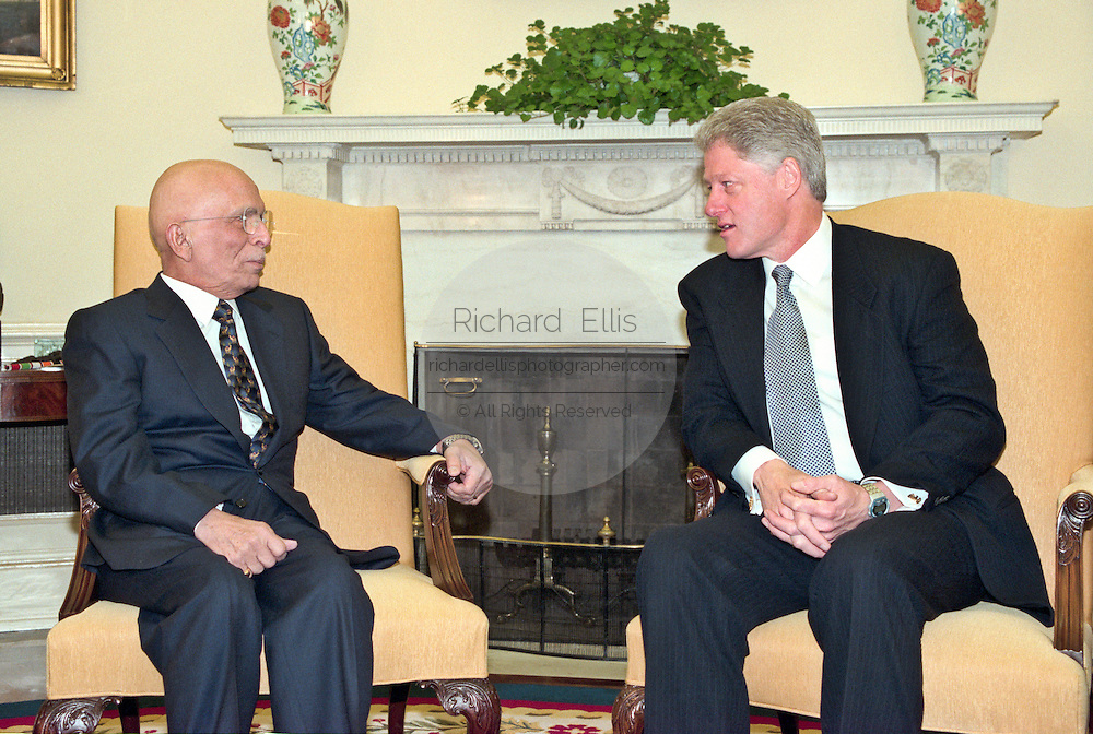 King Hussein of Jordan meets with President Bill Clinton at the White House January 5, 1999 in Washington, DC. The King is on his way home after six months of cancer treatment in the United States.