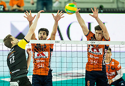 Artur Szalpuk of PGE Skra Belchatow vs Apostolos Armenakis of ACH and Diko Puric of ACH during volleyball match between ACH Volley (SLO) and PGE Skra Belchatow (POL) in Round #4 of 2017 CEV Volleyball Champions League, on January 19, 2017 in Arena Stozice, Ljubljana, Slovenia. Photo by Vid Ponikvar / Sportida