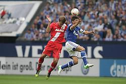 01.09.2012, BayArena, Leverkusen, GER, 1. FBL, Bayer 04 Leverkusen vs FC Augsburg, 2. Runde, im Bild v.l. Kopfballduell zwischen Sebastian Langkamp (FC Augsburg) und Klaas-Jan Huntelaar (FC Schalke 04), Aktion // during the German Bundesliga 2nd round match between Bayer 04 Leverkusen and FC Augsburg at the BayArena, Leverkusen, Germany on 2012/09/01. EXPA Pictures © 2012, PhotoCredit: EXPA/ Eibner/ Oliver Vogler..***** ATTENTION - OUT OF GER *****