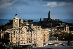 The Balmoral Hotel and Calton Hill, Edinburgh as seen from the Edinburgh Castle Esplanade.