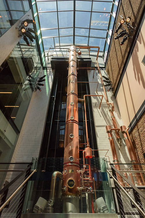 The 44 foot-tall column still made by Vendome Copper & Brass Works of Louisville, Ky., in the center of the atrium area of the Old Forester Distilling Company on Whisky Row in Louisville, Ky. June 6, 2018