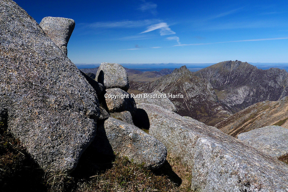 Cir Mhor &amp; Caisteal Abhail from Stacach ridge, Goat Fell, Isle of Arran (Paps of Jura in distance). <br />