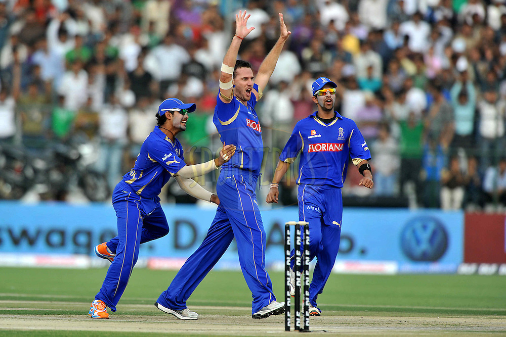 Shaun Tait of Rajasthan Royals celebrates the wicket of Virender Sehwag of Delhi Daredevils during match 7 of the the Indian Premier League ( IPL ) Season 4 between the Rajasthan Royals and the Delhi Daredevils held at the Sawai Mansingh Stadium, Jaipur, Rajasthan, India on the 12th April 2011..Photo by Pal Pillai/BCCI/SPORTZPICS