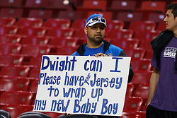 Jan 8, 2012; Sacramento, CA, USA; A fan holds up a sign for Orlando Magic center Dwight Howard (12) before the game against the Sacramento Kings at Power Balance Pavilion. Orlando defeated Sacramento 104-97. Mandatory Credit: Jason O. Watson-US PRESSWIRE