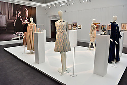 © Licensed to London News Pictures. 26/03/2016. Selection of clothing on display. The Duchess of Devonshire press preview at Sotheby's auction house.  The Duchess, Deborah Mitford, was the youngest surviving member of the six Mitford sisters, and died in September 2014. London, UK. Photo credit: Ray Tang/LNP