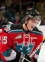 KELOWNA, CANADA - OCTOBER 10: Colton Sissons #15 of the Kelowna Rockets skates on the ice as the Spokane Chiefs visit the Kelowna Rockets on October 10, 2012 at Prospera Place in Kelowna, British Columbia, Canada (Photo by Marissa Baecker/Shoot the Breeze) *** Local Caption ***