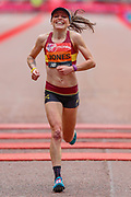 Tish Jones (Great Britain) crossing the finish line in the Women's Elite race, during the Virgin Money 2019 London Marathon, London, United Kingdom on 28 April 2019.