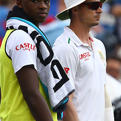 Durban South Africa - December 26, Kagiso Rabada of South Africa with Dale Steyn of South Africa during the match between South Africa  and England day 1 of the 1st test , 26 December 2015. (Photo by Steve Haag) images for social media must have consent from Steve Haag