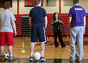 Ohio University senior Alexa Macri teaches soccer during a physical education course at  Alexander High School in Albany, Ohio, on February 27, 2014. Photo by Lauren Pond
