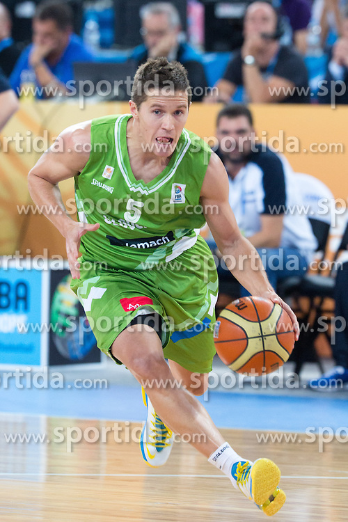 Jaka Lakovic #5 of Slovenia during basketball match between national team of Greece and Slovenia at Eurobasket 2013 on September 14, 2013 in SRC Stozice, Ljubljana, Slovenia. (Photo By Matic Klansek Velej / Sportida.com)