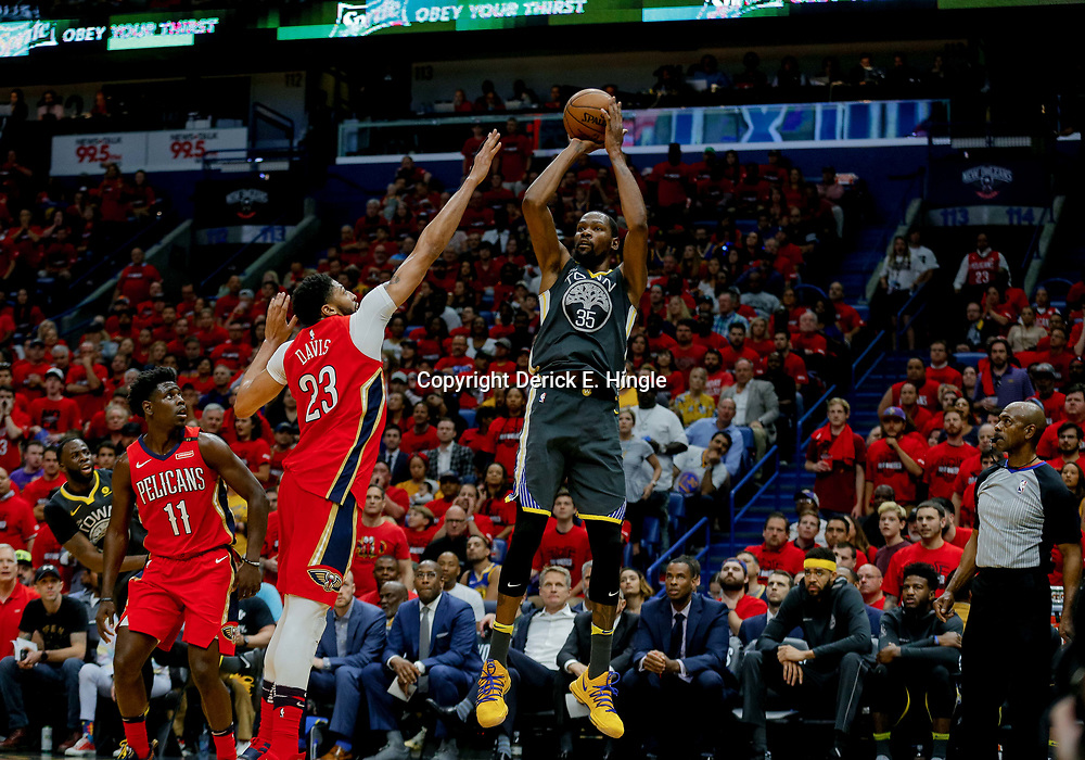 May 6, 2018; New Orleans, LA, USA; Golden State Warriors forward Kevin Durant (35) shoots over New Orleans Pelicans forward Anthony Davis (23) during the second quarter in game four of the second round of the 2018 NBA Playoffs at the Smoothie King Center. Mandatory Credit: Derick E. Hingle-USA TODAY Sports