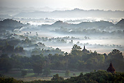 View of Mrauk U from Shwetaung Paya (Golden Hill Pagoda) in Myanmar (Burma).