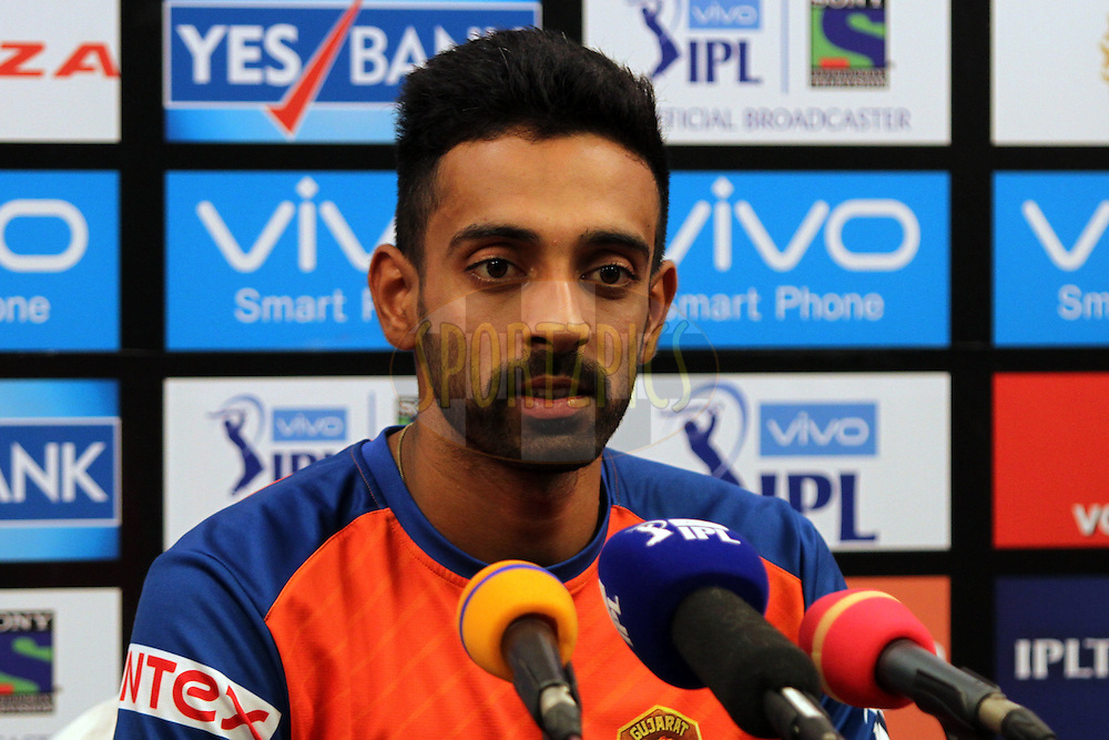 Dhawal Kulkarni of Gujrat Lions speaks to media after match 9 of the Vivo Indian Premier League ( IPL ) 2016 between the Mumbai Indians and the Gujarat Lions held at the Wankhede Stadium in Mumbai on the 16th April 2016Photo by Prashant Bhoot/ IPL/ SPORTZPICS