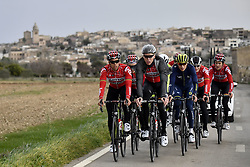 December 15, 2017 - Majorca, SPAIN - Belgian Jens Debusschere of Lotto Soudal, German Marcel Sieberg of Lotto Soudal, Belgian Jens Keukeleire of Orica Scott, German Andre Greipel of Lotto Soudal and Belgian Tiesj Benoot of Lotto Soudal pictured in action during a press day during Lotto-Soudal cycling team stage in Mallorca, Spain, ahead of the new cycling season, Friday 15 December 2017. BELGA PHOTO DIRK WAEM (Credit Image: © Dirk Waem/Belga via ZUMA Press)