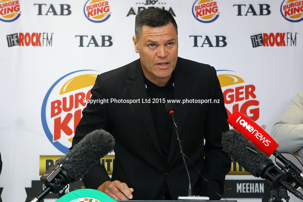 Kali Meehan, Burger King, Road to the Title press conference ahead of Thursdays boxing event. Burger king Lincoln Rd, Auckland. 13 October 2015. Copyright Photo: William Booth / www.photosport.nz