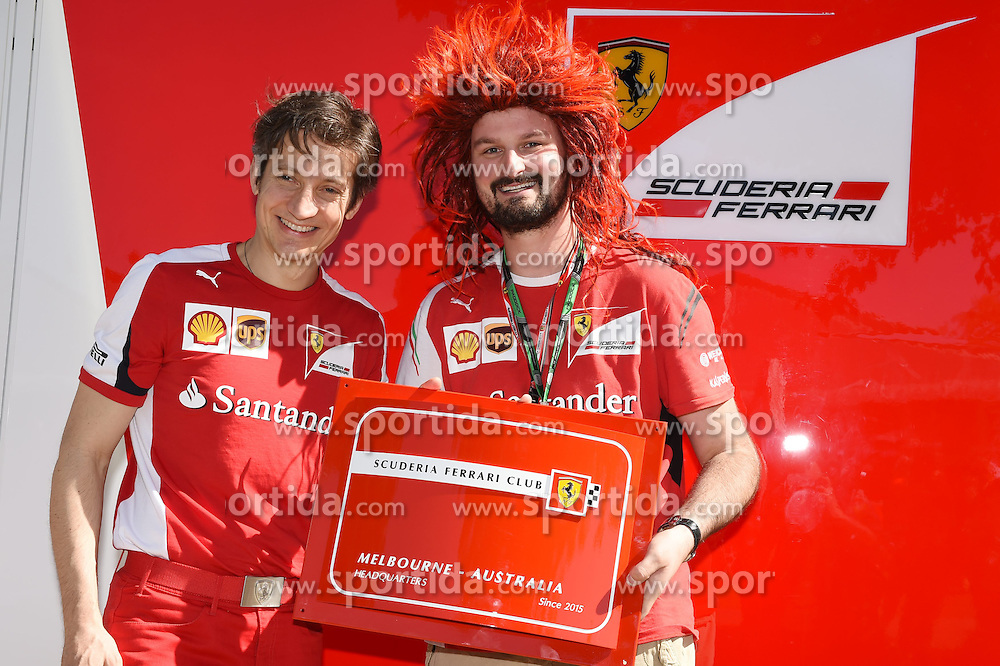 11.03.2015, Albert Park Circuit, Melbourne, AUS, FIA, Formel 1, Grand Prix von Australien, Vorberichte, im Bild Anthony Hvala (AUS) Ferrari Club Melbourne and Massimo Rivola (ITA) Ferrari Sporting Director // during Preparations for the FIA Formula One Grand Prix of Australia at the Albert Park Circuit in Melbourne, Australia on 2015/03/11. EXPA Pictures &copy; 2015, PhotoCredit: EXPA/ Sutton Images/ Mark Images<br /> <br /> *****ATTENTION - for AUT, SLO, CRO, SRB, BIH, MAZ only*****