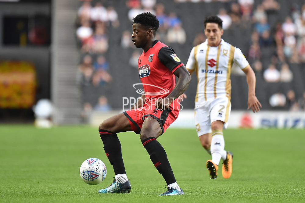 Grimsby Town striker JJ Hooper (9) looks for options during the EFL Sky Bet League 2 match between Milton Keynes Dons and Grimsby Town FC at stadium:mk, Milton Keynes, England on 21 August 2018.