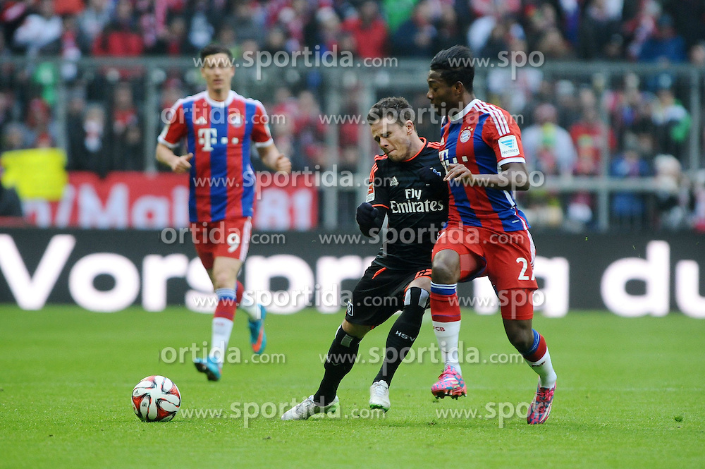14.02.2015, Allianz Arena, Muenchen, GER, 1. FBL, FC Bayern Muenchen vs Hamburger SV, 21. Runde, im Bild vl. Robert Lewandowski (FC Bayern Muenchen), Nicolai Mueller (Hamburger SV) und David Alaba (FC Bayern Muenchen) // during the German Bundesliga 21th round match between FC Bayern Munich and Hamburger SV at the Allianz Arena in Muenchen, Germany on 2015/02/14. EXPA Pictures &copy; 2015, PhotoCredit: EXPA/ Eibner-Pressefoto/ Stuetzle<br /> <br /> *****ATTENTION - OUT of GER*****