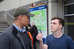 Clive Lewis MP being interviewed by University of East Anglia students who are protesting at the university's decision to shut the Muslim prayer room, just a few days before Ramadan starts and during the exam season. The Multi-Faith Centre is not a suitable alternative. Norwich 19 May 2017