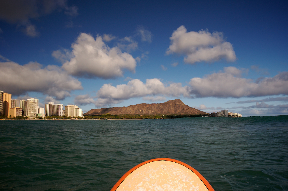 diamond head view,longboard,Hawaii.