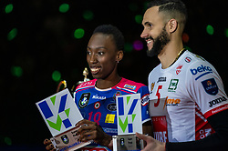 18-05-2019 GER: CEV CL Super Finals Igor Gorgonzola Novara - Imoco Volley Conegliano, Berlin<br /> Igor Gorgonzola Novara take women's title! Novara win 3-1 / /Gaia Moretto #18 of Imoco Volley Conegliano, Osmany Juantorena Portuondo #5 of Cucine Lube Civitanova