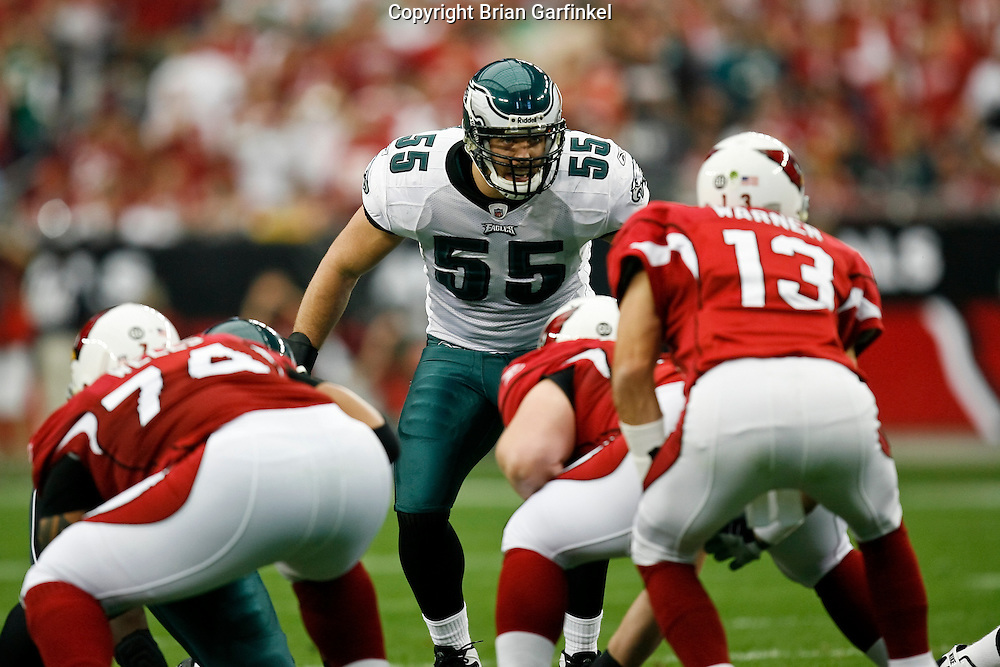 18 Jan 2009: Philadelphia Eagles linebacker Stewart Bradley #55 during the NFC Championship game against the Arizona Cardinals on January 18th, 2009. The Cardinals won 32-25 at University of Phoenix Stadium in Glendale, Arizona.