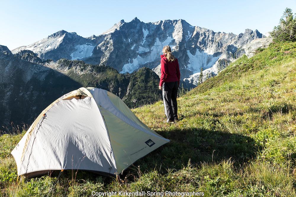 WA11121-00...WASHINGTON - Campsite on Liberty Cap in the Glacier Peak Wilderness, Wenatchee National Forest. (MR# S1)